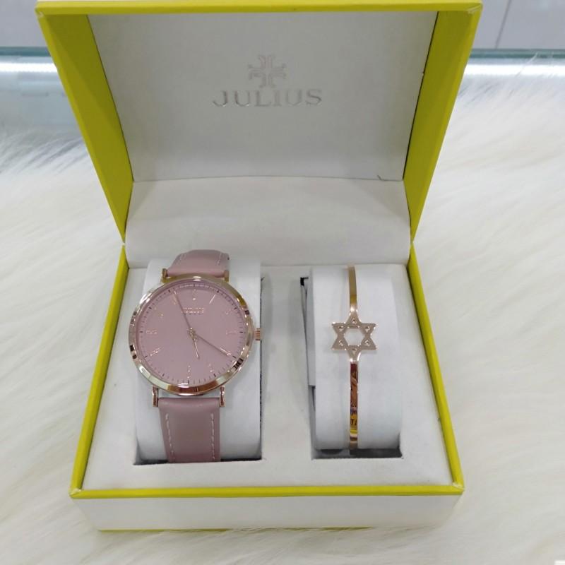Combo đồng hồ nữ Julius Hàn Quốc  Ja-1017D và lắc tay thời trang
