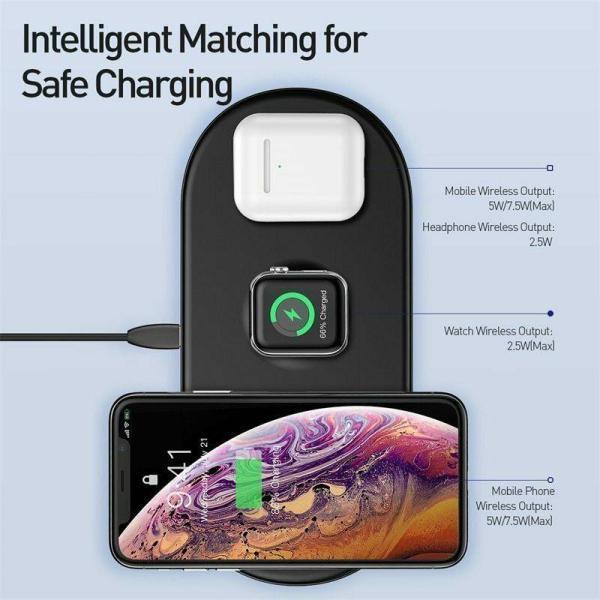 Giá Sạc nhanh không dây hãng Baseus WX3IN1 siêu mỏng sạc 3 trong 1 cho smartphone, iphone X, XS, Xs Max , Smartwwatch và tai nghe Airpod