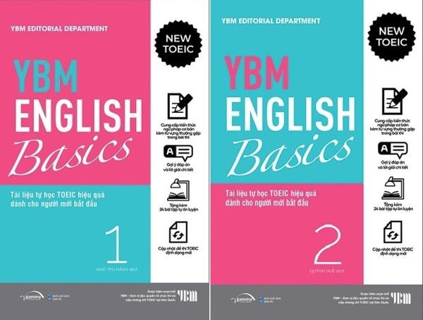nguyetlinhbook -  YBM English Basic 1 + 2: Tài Liệu Tự Học TOEIC Hiệ Quả Dành Cho Người Mới Bắt Đầu (Bộ 2 Tập)