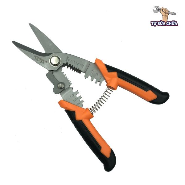 Kéo cắt cáp tuốt dây bấm cos đa năng cao cấp 3 trong 1 rdeer 120-6280 8inch/200mm, được chế tạo bằng thép CR-V, có độ cứng cao, chịu lực tốt