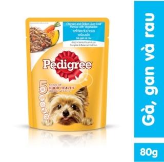 Thức ăn cho chó lớn dạng sốt Pedigree vị gà, gan và rau 80g thumbnail