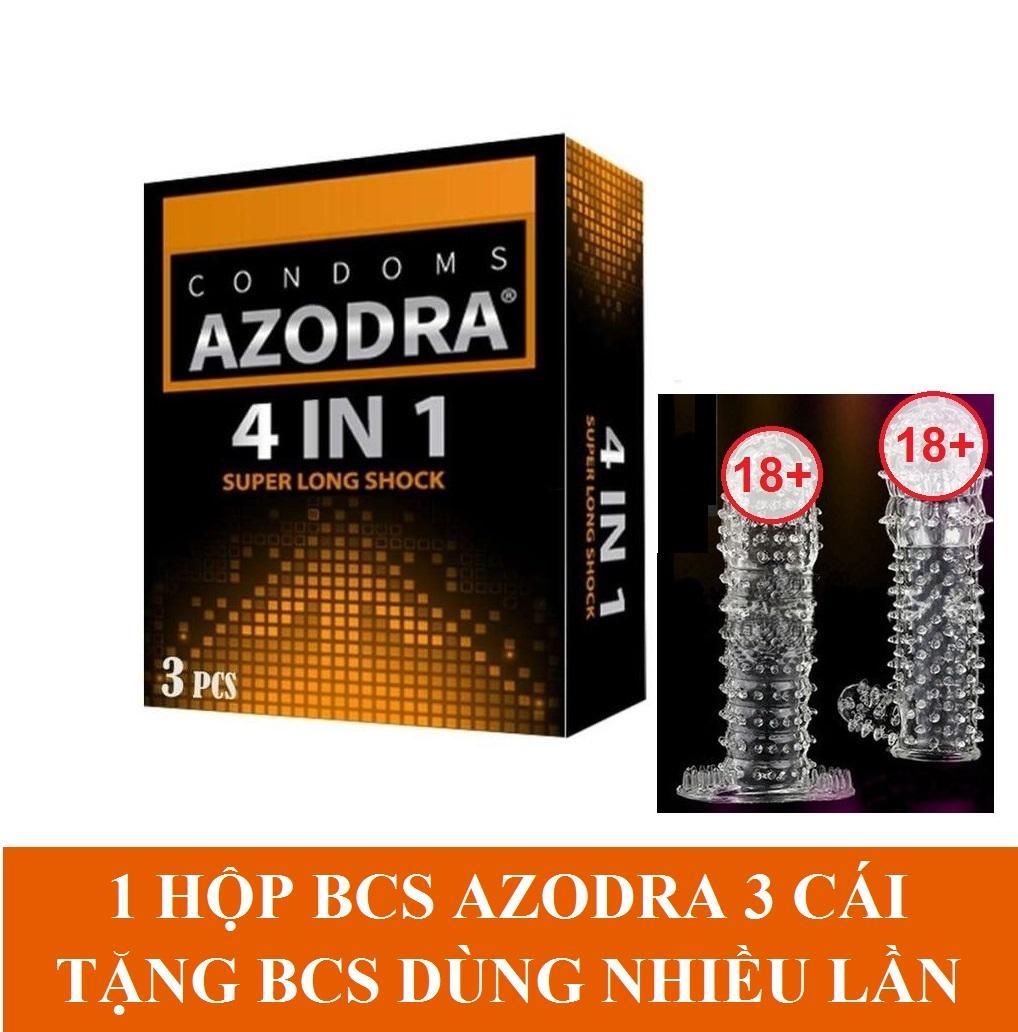 Bộ 1 hộp Bao cao su gân gai kéo dài thời gian AZODRA hộp 3 cái tặng 1 bcs dùng nhiều lần cao cấp