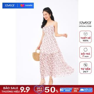 Đầm MAXI 92WEAR váy thiết kế dài nhún bèo gấu, đi đạo, đi biển DMC0104 thumbnail