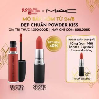 [MỞ BÁN SỚM TỪ 24 8] MAC - Bộ 2 món Son môi MAC Powder Kiss Lipstick 3g & Powder Kiss Liquid Lipcolour 5ml (Giá thực 1,390,000vnd) thumbnail