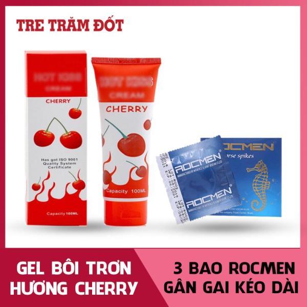 Gel bôi trơn hương Cherry  quến rũ lọ 100ml tặng 1 hộp  3C Bao cao su gai gân hương bạc hà ( Gel Hoa quả - An toàn - Tăng khoái cảm) giá rẻ