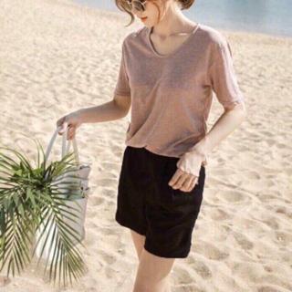 Quần Short nữ ống rộng vải đũi cạp chun màu Trắng Đen Rêu Hồng Be - Quần đùi nữ mặc siêu thoải mái SchoolF thumbnail