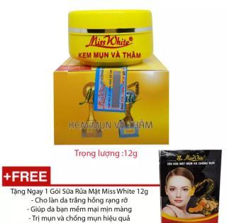Kem Mụn - Ngừa Thâm Miss White - 12g tặng kèm sữa rửa mặt- Công Ty ( mẫu mới ) thumbnail
