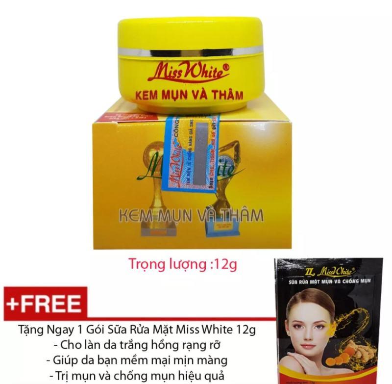 Kem Mụn - Ngừa Thâm Miss White - 12g tặng kèm sữa rửa mặt- Công Ty ( mẫu mới ) giá rẻ
