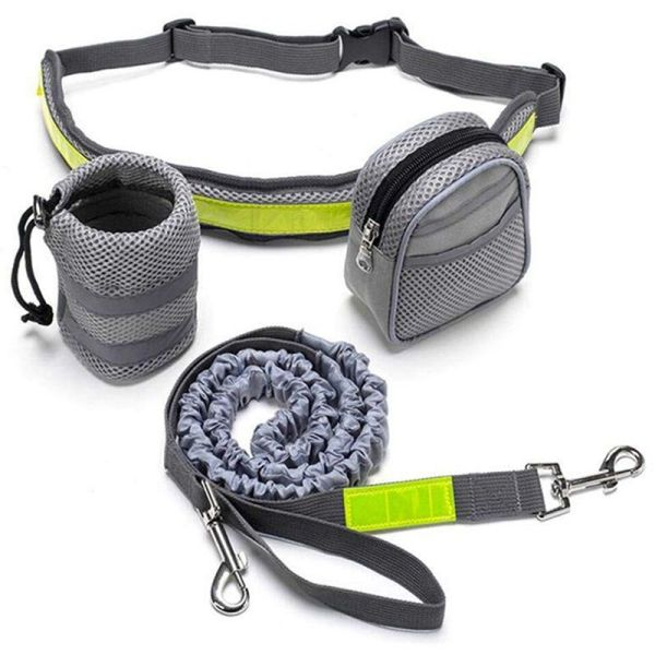 Hand Free Running Dog Leash, Waist Dog Leash with Pouch, Adjustable Dog Belt Lead for Running, Walking, Jogging (Gray)