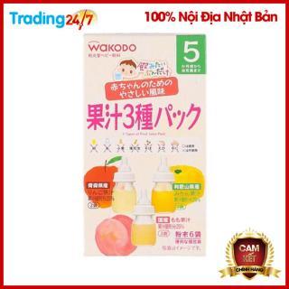 Trà tan hoa quả Wakodo mix vị (táo, đào, cam) - Nội địa Nhật Bản thumbnail