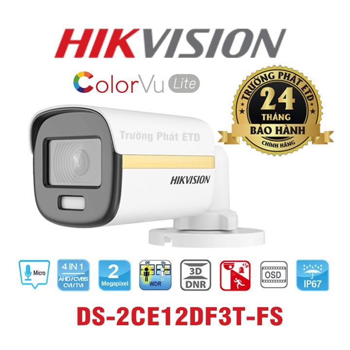 Camera có màu 24/7. Camera HDTVI ColorVu 2MP HIKVISION DS-2CE12DF3T-FS. Hàng Chính Hãng