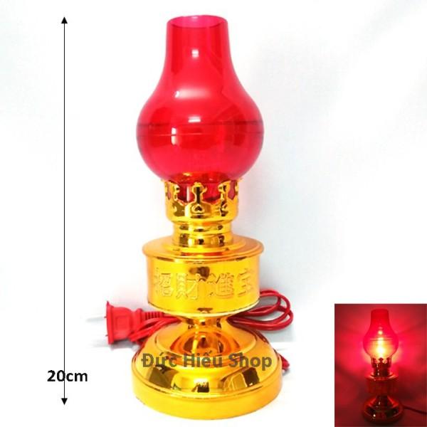 [ Thay bóng dễ dàng ] Đèn thờ cúng kiểu đèn dầu 08, đèn hoa sen để bàn thờ