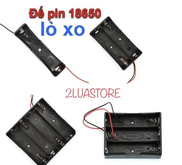 Bảng giá Đế gắn pin 18650 có lò xo, dây hàn sẵn và lỗ bắt vít