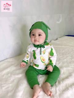 Đồ bộ thu đông dài tay trái cây hoa quả cho bé trai bé gái TẶNG kèm mũ tai thỏ cho bé trai bé gái chất liệu cotton lạnh mềm mịn mát, thoáng khí, kiểu dáng đẹp, chuẩn xuất Hàn hơn cả Minky Mom