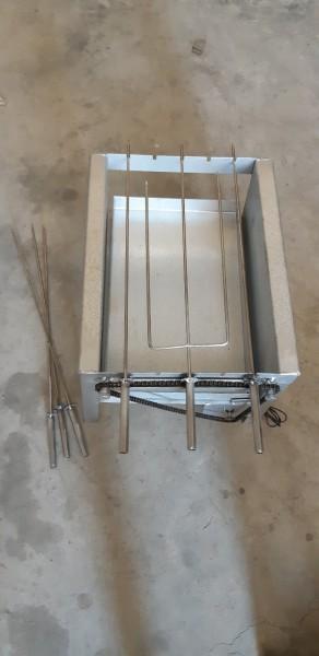 Máy nướng thịt xiên gà vịt cá gắn sẵn mô tơ tự quay kèm 5 xiên inox tặng 1 chạc nướng gà