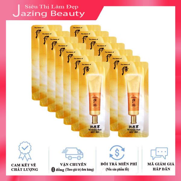 Combo 15 Sample Kem Chống Nắng Cải Thiện Nếp Nhăn Whoo Jin Hae Yoon Wrinkle Sun Cream SPF50+/PA+++ 1ml x 15