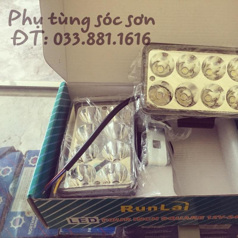 02 chiếc đèn led trợ sáng Runlai 8 mắt ánh sáng trắng 12v-24v-24w
