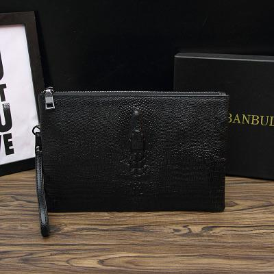 Autumn And Winter New Style Mens Handbag Leather Clutch Bag Mens Bag Full-grain Leather Crocodile Pattern Envelope Male Wallets