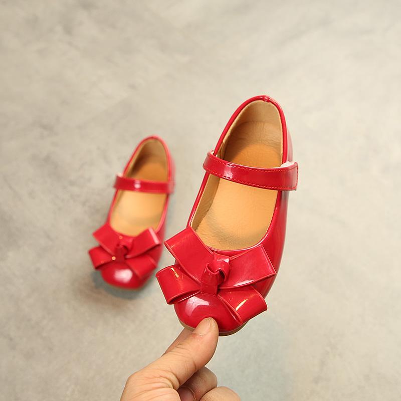 Giá bán Cô Gái Giày Da 2019 Mùa Xuân Thu Mẫu Mới Kiểu Hàn Quốc Trẻ Em Nơ Bướm Mặt Da Giày Công Chúa Bé Gái Giày Đế Mềm