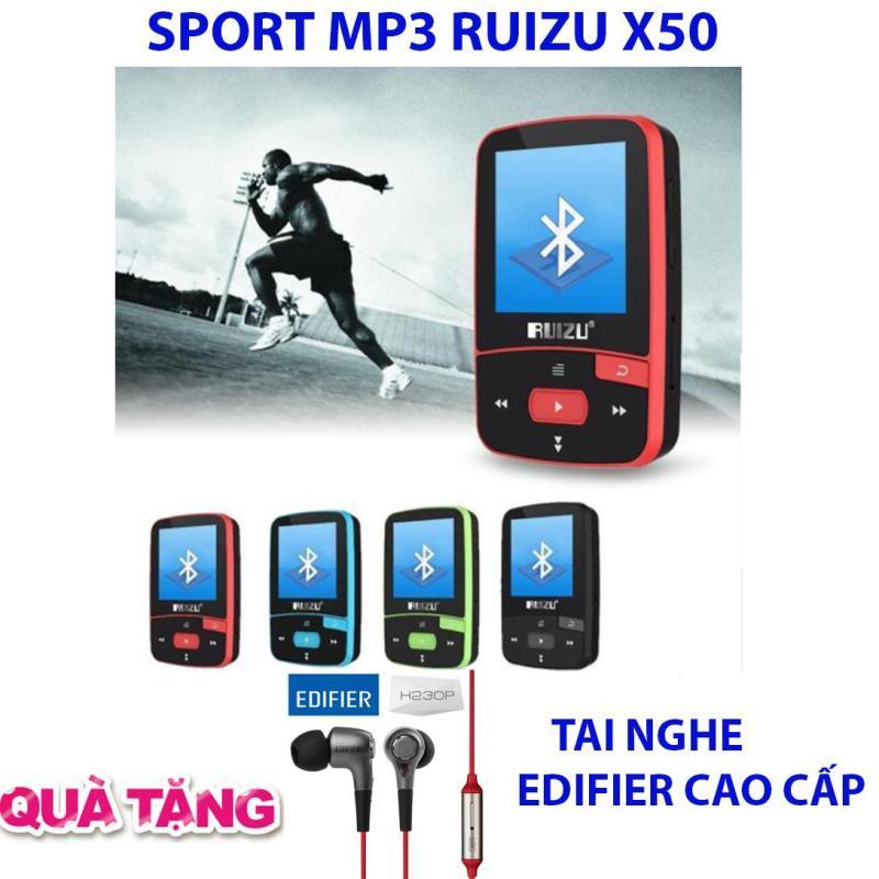 Máy nghe nhạc thể thao MP3/MP4 bluetooth  Ruizu X50 - Mini Sport Mp3 + Tai nghe Kiểm âm cao cấp Edifier H230P