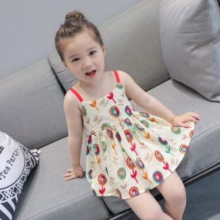 Váy Mùa Hè Libaby Cho Trẻ Em Váy Thời Trang In Họa Tiết Anh Đào Không Tay Cổ Tròn Cho Bé Gái