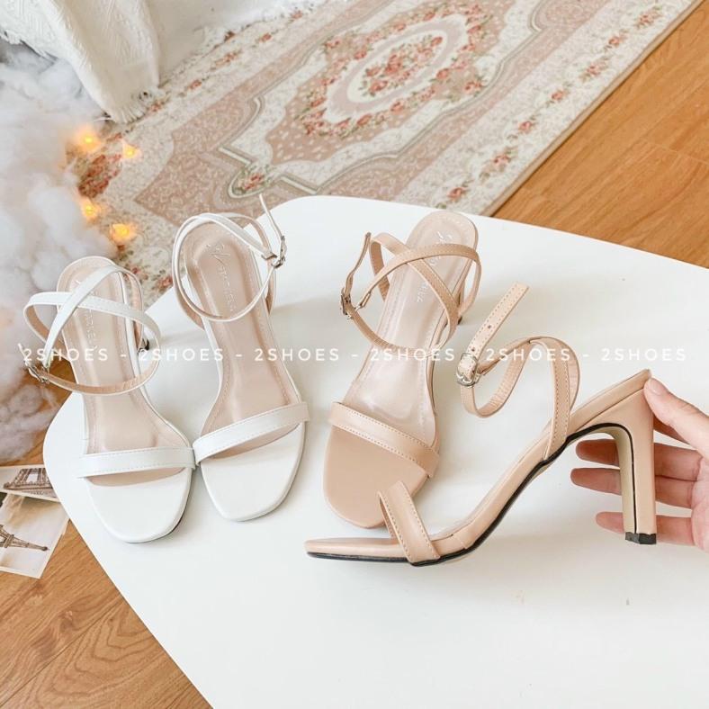 giày dép sandal đế cao gót 6p 2 màu quai cài giá rẻ