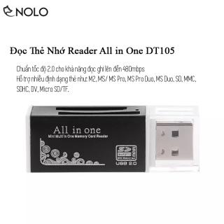 Đầu Đọc Thẻ Nhớ Reader Chuẩn Tốc Độ 2.0 All In One Model DT105 Hỗ Trợ Nhiều Định Dạng Thẻ Nhớ MS Pro M2 MicroSD TF MS Duo SD SDHC thumbnail