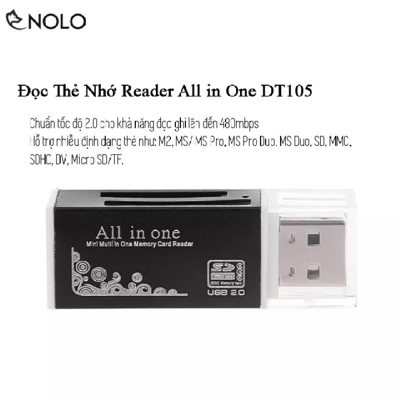 Bảng giá Đầu Đọc Thẻ Nhớ Reader Chuẩn Tốc Độ 2.0 All In One Model DT105 Hỗ Trợ Nhiều Định Dạng Thẻ Nhớ MS Pro M2 MicroSD TF MS Duo SD SDHC Phong Vũ