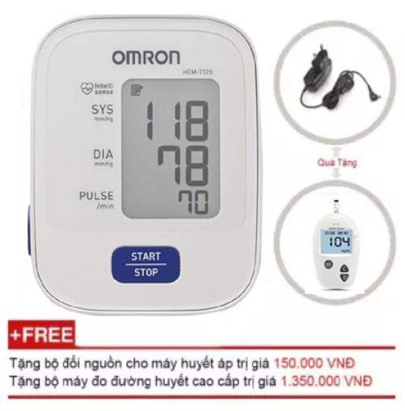 Nơi bán Máy đo huyết áp bắp tay Omron HEM 7121 (Trắng) + Tặng Máy đo đường huyết Safe-Accu