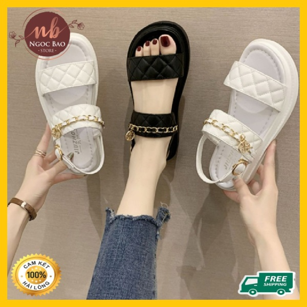 Dép sandal nữ quai ngang viền quai xích chất da cao cấp cực xinh, chống nước Hot Trend 2020,dép xăng đan học sinh đế 3 cm đế xuồng giá rẻ