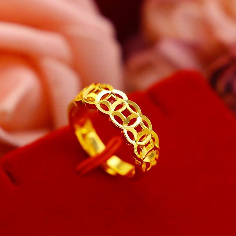 Nhẫn kim tiền phát tài phát lộc dành cho Nam Nữ mạ vàng 24k
