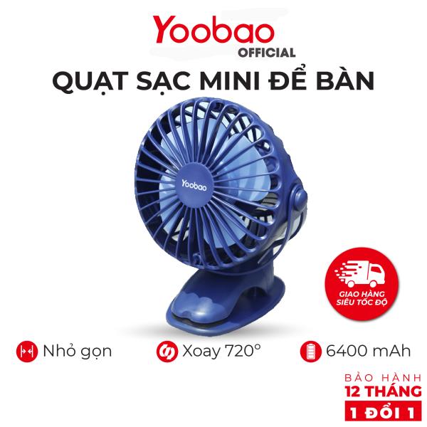 Quạt sạc mini để bàn YOOBAO F04 6400mAh Xoay 720 độ Chạy 32 giờ liên tục - Hàng chính hãng - Bảo hành 12 tháng 1 đổi 1- Thiết kế đẹp tiện dụng