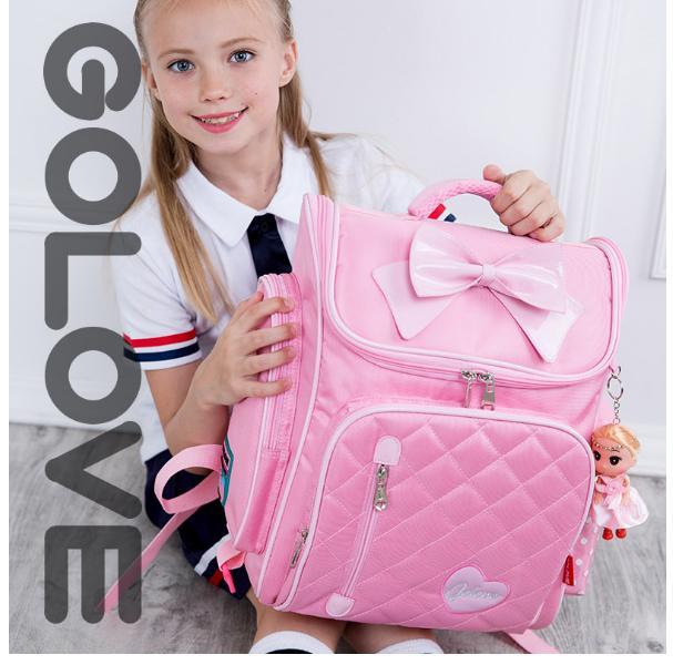 Giá bán Balo chống gù lưng học sinh Golove kèm búp bê xinh xắn (Pink) Tặng dụng cụ học tập ý nghĩa