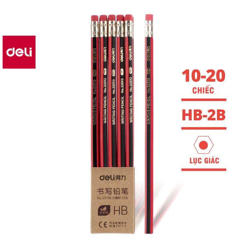 Mua [Tặng 1 gọt chì] 10 chiếc Bút chì lục giác Deli - bút chì gỗ - loại 2B/HB - 33158 / 33159