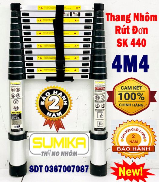 [HÀNG CHÍNH HÃNG – GIÁ SỈ] Thang Nhôm Rút Xếp Đơn Cao Cấp 4.4M SUMIKA SK440 - Chất Liệu Nhôm, 14 Bậc, Tải Trọng 300kg,Hàng Chính Hãng Bảo Hành Toàn Quốc 12 Tháng Bởi NBH Shop BBQ