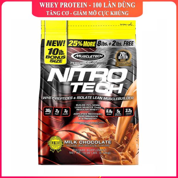 Sữa tăng cơ giảm mỡ cao cấp Whey Protein Nitro Tech của MuscleTech hương Chocolate bịch 4.5 kg 100 lần dùng hỗ trợ tăng cơ giảm cân giảm mỡ bụng tăng sức bền sức mạnh cho người tập GYM và chơi thể thao cao cấp