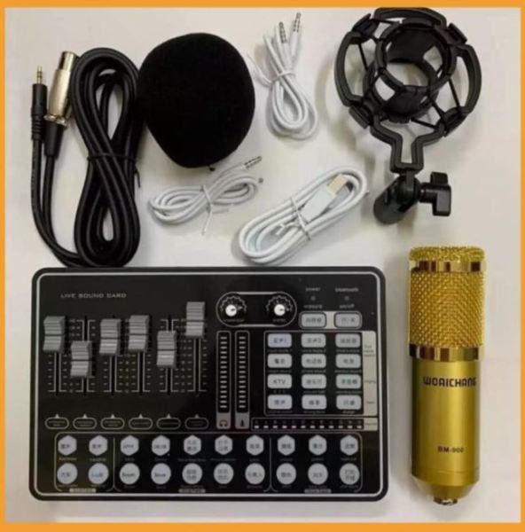 COMBO míc hát karaoke livestream online micro BM-900 + CARD H9 BLUETOOTH