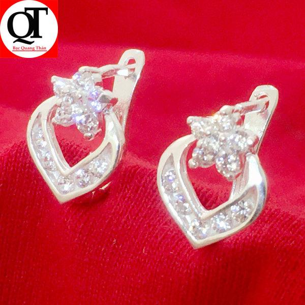 Giá bán Bông tai bạc nữ Bạc Quang Thản thiết kế kiểu khuyên đeo sát tai chất liệu bạc trắng không xi mạ, phong cách thời trang phù hợp cho mọi lứa tuổi - QTBT39