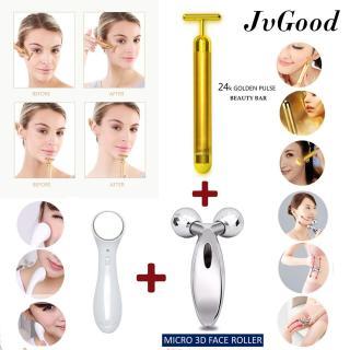 JvGood Mặt Dụng Cụ Vàng Chăm Sóc Da Máy Mát Xa Mặt 3D Con Lăn Điện Massage Mặt Energy Beauty Bar Dụng Cụ Massage Dụng cụ chăm sóc da mặt Skin Care 3-in-1 Kit Face Lifting Slimming thumbnail
