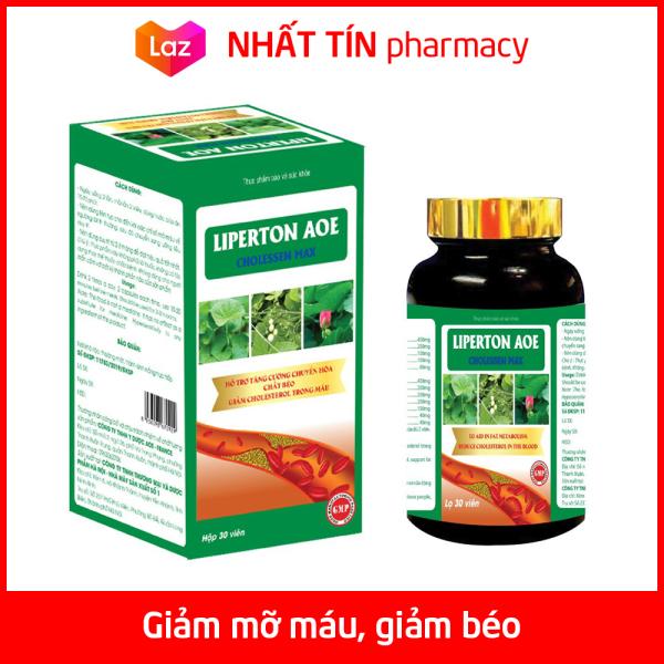 Liperton AOE hỗ trợ giảm mỡ máu, giảm béo, giảm cholesterol trong máu - Chai 30 viên - NHẤT TÍN PHARMACY