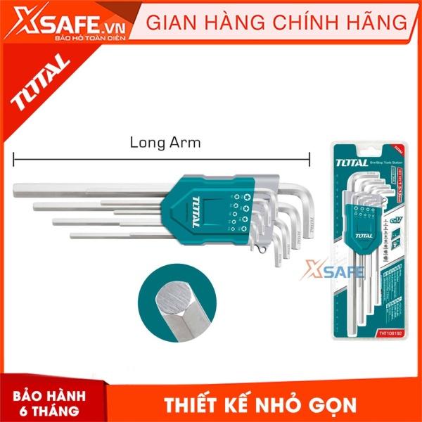 Bộ khóa lục giác đầu bằng dài TOTAL THT106192 Lục giác thép Cr-V chắc chắn, chống gãy cong, nhỏ gọn - Sản phẩm chính hãng XSAFE