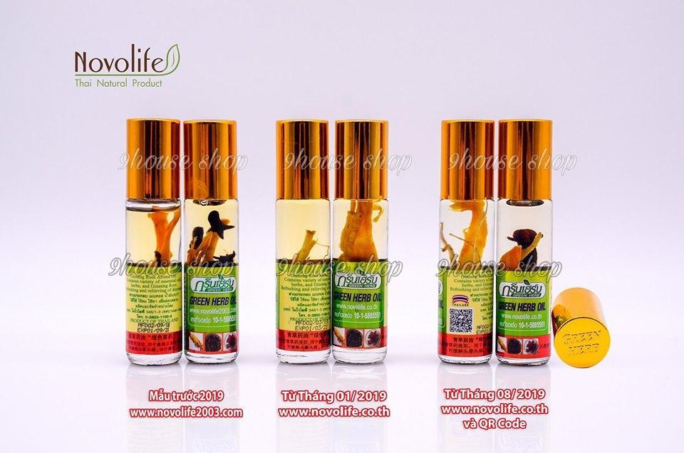 Lốc 12 Dầu Nhân Sâm Ginseng Green Herb Oil Thái Lan - 8ml x12 chai chính hãng