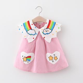 Cô Gái Ăn Mặc, Váy Búp Bê Bỏ Túi Hình Trái Tim Ve Áo Cầu Vồng, Đầm Chữ A Không Tay Cho Trẻ Em, Váy In Cầu Vồng Cho Bé Gái