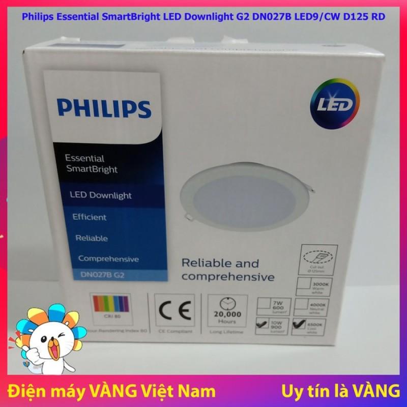 Đèn Led âm trần Philips 10W DN027B G2 LED9/CW D125 RD Trắng (Lỗ cắt Phi 122 đến 127mm)