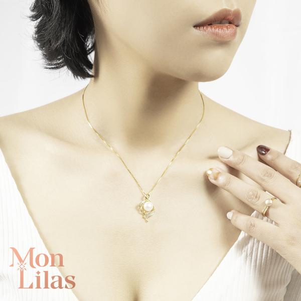 Dây Chuyền Nữ Bạc Phủ Vàng 18K Ngọc Trai Tinh Xảo Sang Trọng Mon Lilas Necklace D0320001 - D0320002