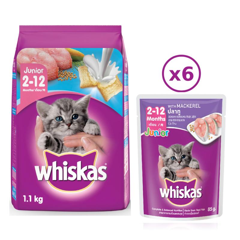 Bộ thức ăn cho mèo con dạng hạt Whiskas vị cá biển 1.1kg + 6 túi pate cho mèo con Whiskas vị cá thu 85g/túi