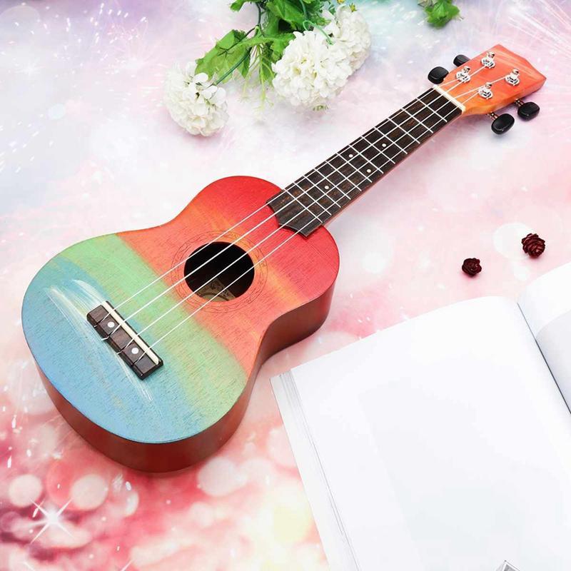 Ukulele Hand-Painted Combo 21 Ukulele Black Soprano 4 Strings Uke Bass Stringed Musical Instrument Perfect for Beginners