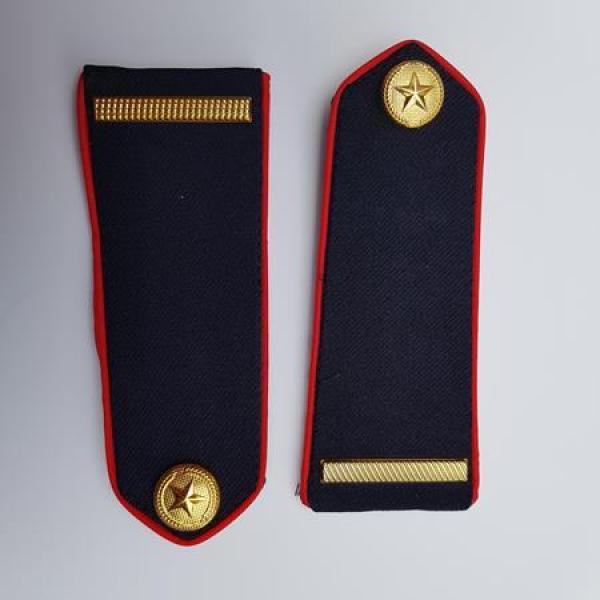 Cầu vai bảo vệ - Cầu vai cấp hiệu lực lượng bảo vệ - vệ sĩ chuyên nghiệp - cầu vai gắn áo bảo vệ ( nền xanh đen ,gạch đồng, viền đỏ,nút đồng)