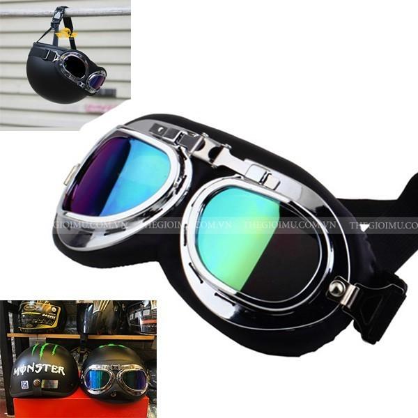 Giá bán Kính phi công dành cho mũ bảo hiểm 1/2 và 3/4 chống bụi - gió và đi phượt