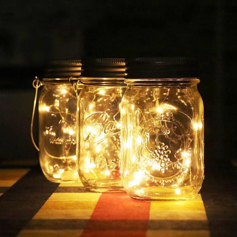 Viugreum Solar Light LED Waterproof Intelligent Control Mason Jar Hanging Lantern Party Wall Table Decorative Lamp